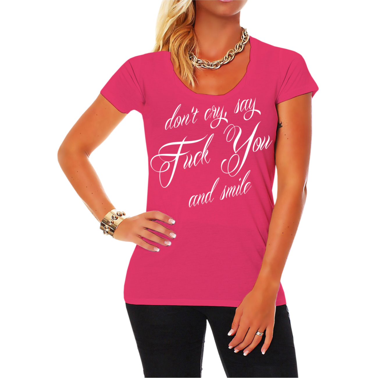 frauen girls shirt don 39 t cry say fuck you and smile frech. Black Bedroom Furniture Sets. Home Design Ideas
