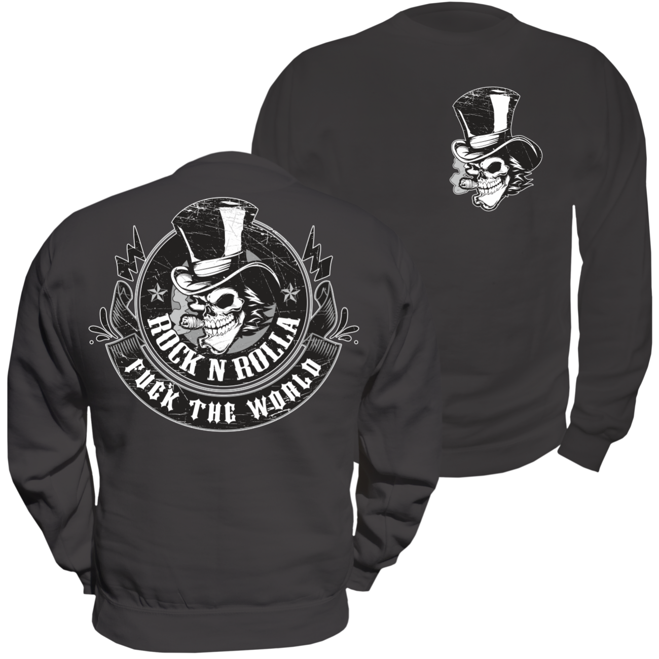 Pullover Sweatshirt ROCK N ROLLA hot rod rock'n roll rockabilly fuck the world