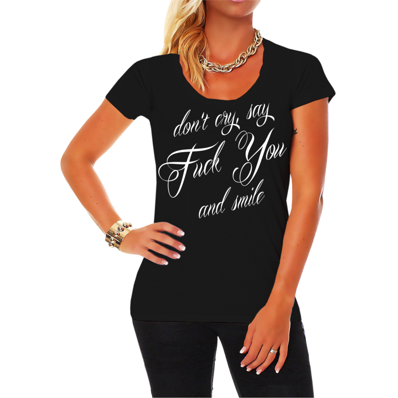 frauen girls t shirt don 39 t cry say fuck you and smile frech geil cool. Black Bedroom Furniture Sets. Home Design Ideas