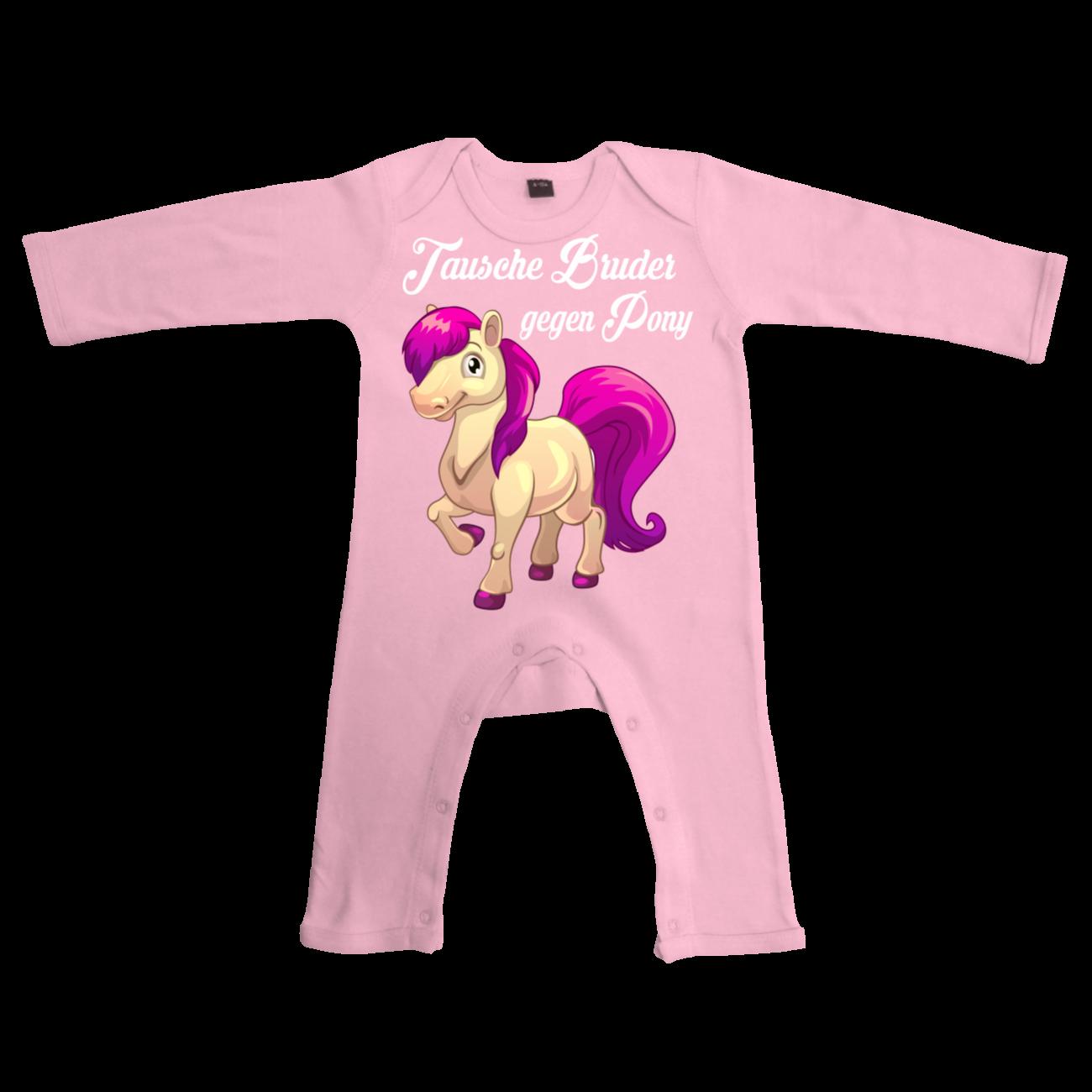 baby strampler lang tausche bruder gegen pony motive geschenk