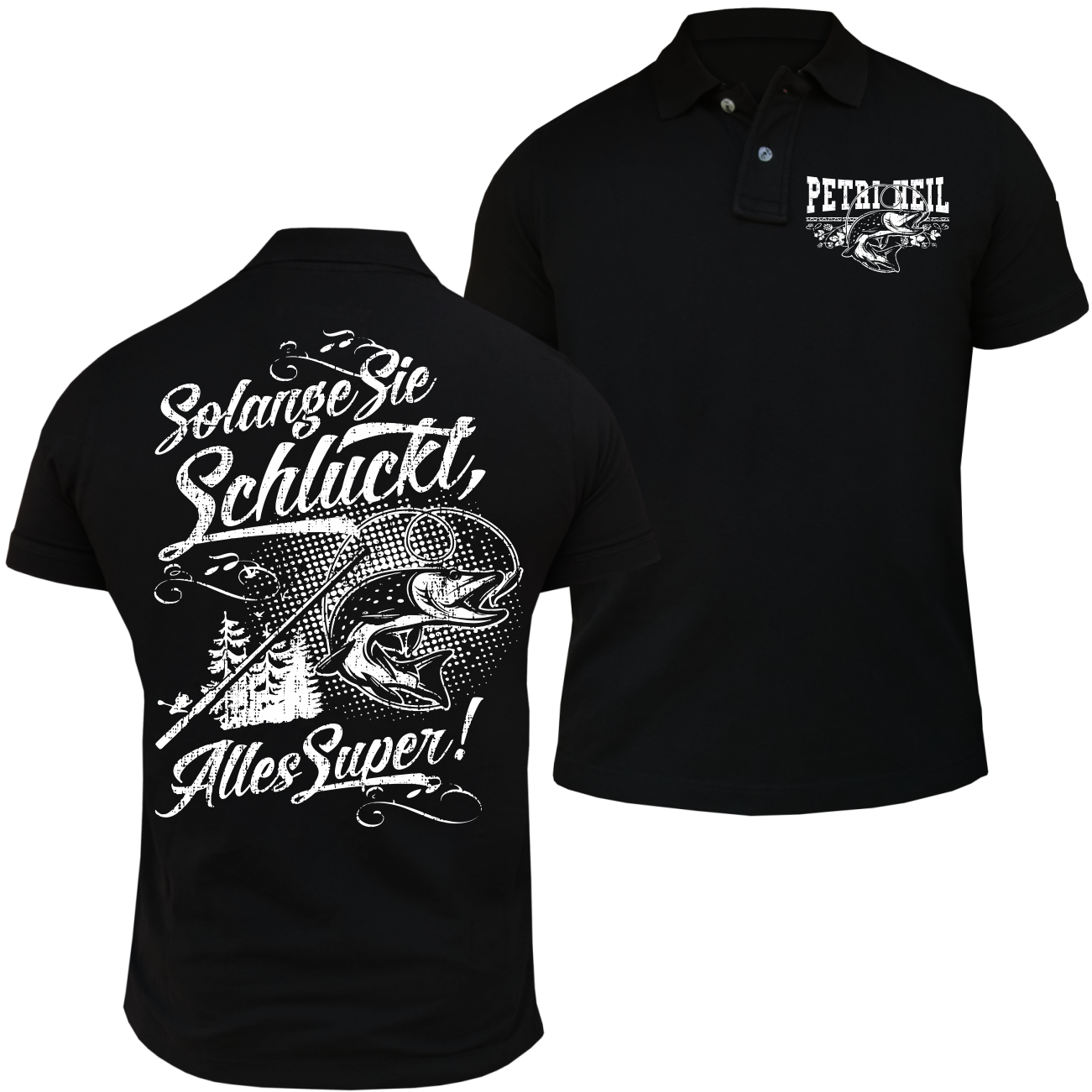polo shirt solange sie schluckt m nner hobby angler fische hecht spruch geschenk ebay. Black Bedroom Furniture Sets. Home Design Ideas