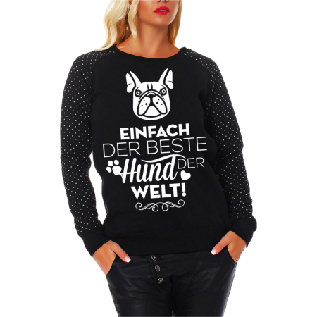 Frauen Sweatshirt CROSS Der beste Hund der Welt FRENCH BULLDOG