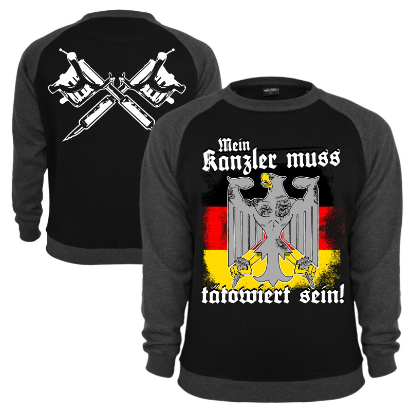 pullover mein kanzler muss t towiert sein sweatshirt tattoos brd adler spr che ebay. Black Bedroom Furniture Sets. Home Design Ideas
