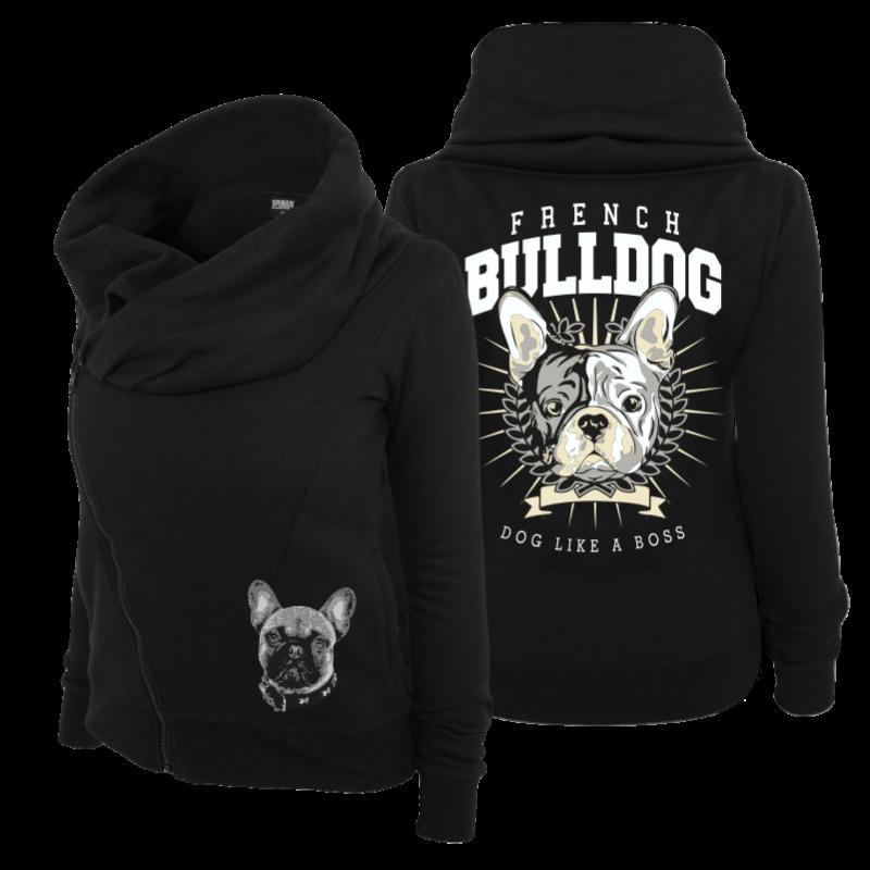 frauen schalkragen jacke french bulldog boss franz sische bulldogge damen girls ebay. Black Bedroom Furniture Sets. Home Design Ideas